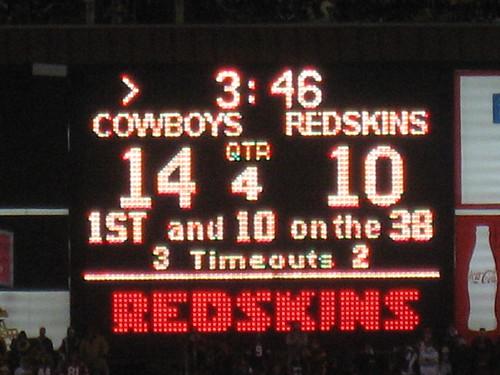 Cowboys 14, Redskins 10