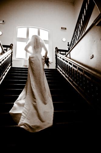 Bride on stairwell