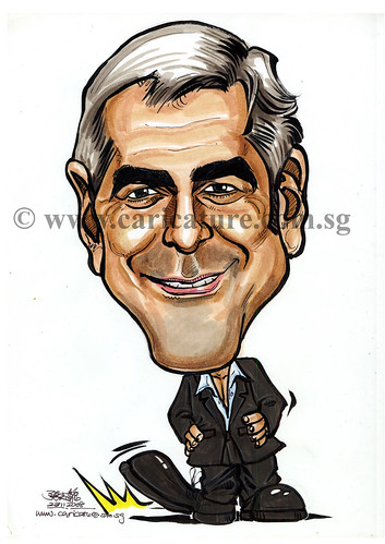 Celebrity caricatures - George Clooney colour watermark