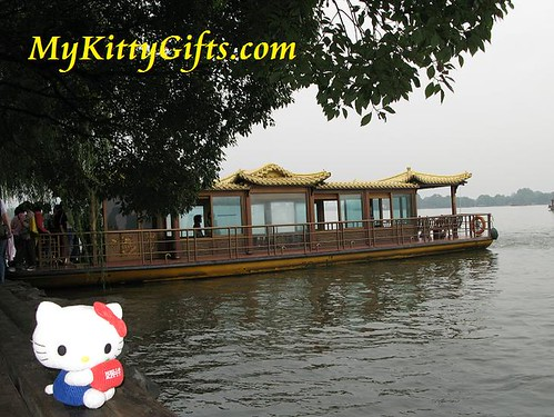Hello Kitty waiting to board the Tour Boat for a Boat Trip in West Lake, HangZhou