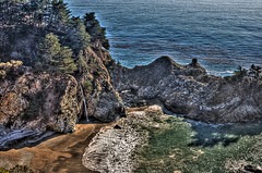 Big Sur Waterfall (vgm8383) Tags: ocean california beach water coast waterfall spring surf cove tide central bigsur pch pacificocean pacificcoasthighway1 hazy hdr pfeiffer mcwaycove pfeifferstatepark juliapfeifferburnsstatepark mcway hazyday
