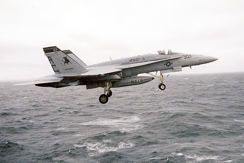 Fighter Airplane picture - F-18 Hornet launches off the angle deck of the USS Enterprise (CVN-65)