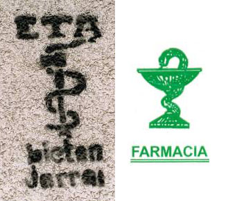 Parecido razonable entre el logo de la banda terrorista ETA y el logo de las farmacias