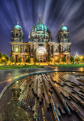 Night at Berliner Dom, Berlin Germany (magnetic lobster) Tags: longexposure berlin church fountain rain night clouds reflections germany cityscape nightlights citylights mitte hdr museumsinsel berlinerdom lustgarten citynights museumisland berlincathedral