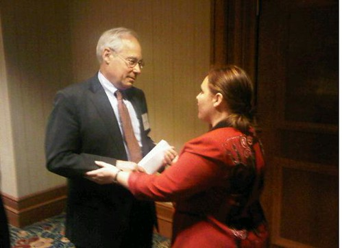 Regina speaking with Don Berwick photo by John O'Brien