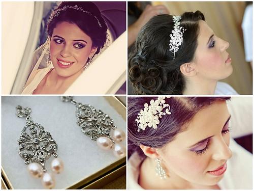 vintage inspired bridal earrings, pink freshwater pearl chandelier earrings, The Watermill NY, Albanian bride, crystal flower bridal head comb, new york bridal accessories