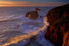 Wave power - Enys Dodnan (snowyturner) Tags: sunset sea coast cornwall waves arch landsend breakers enys scenicsnotjustlandscapes dodnan