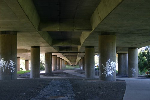 Suburbian bike path underneath the M4. Sydney.