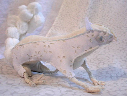 white fabric squirrel