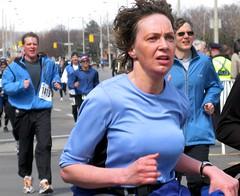 Woman running the Around the Bay Roadrace