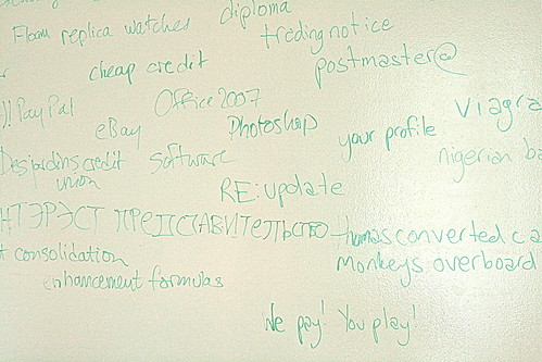 Whiteboard covered in spam subject lines
