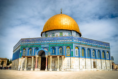 Temple Mount (roevin | Urban Capture) Tags: fab sky architecture clouds religious gold israel shrine jerusalem courtyard domeoftherock bleu dome oldcity islamic quran yerushalayim aplusphoto  theperfectphotographer