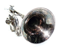 Tarnished... (tim.perdue) Tags: music white black silver bell trumpet bach instrument highkey brass stradivarius tarnished