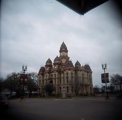 Courthouse (Xylographile) Tags: film analog mediumformat holga texas fuji toycamera vignetting portra lockhart southtexas plasticlens analog120