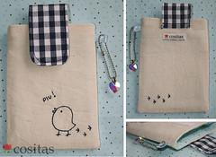 Porta-celular Piu (Cositas by Leila Sato) Tags: handmade fabric cristal namorados pintinho presente piu tecidos xadrez cositas acessrios portacelular leilasato
