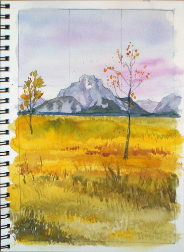 Watercolor Sketch - Mount Moran