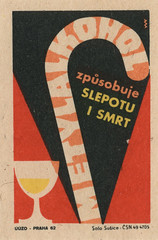 czechoslovakian matchbox label (maraid) Tags: food glass warning death czech prague praha walkingstick alcohol packaging czechrepublic 1960s 1962 homebrewing czechoslovakia blindness czechoslovakian matchboxlabel solosusice uuzo
