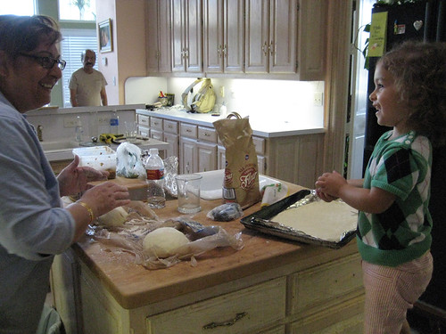Making homemade fresh bread with Grandma
