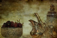 Tea and Cherries (lynne bernay-roman) Tags: cherries tea antique soe supershot platinumphoto ysplix theunforgettablepictures selectbestexcellence sbfmasterpiece