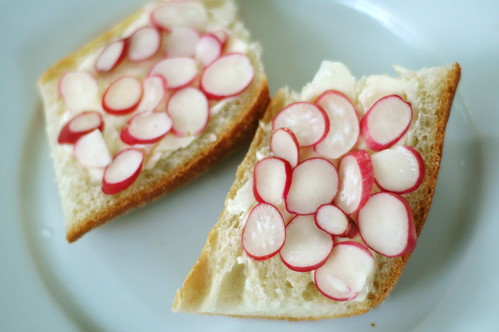 Radishes with Butter, Sea Salt, and Baguette