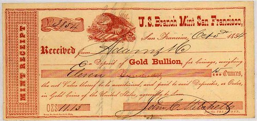 San Francisco Bullion Receipt