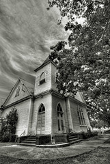 Hampton Church - Black & White (Dubtastic) Tags: sky blackandwhite bw abandoned church clouds georgia south religion neglected sigma wideangle southern thesouth hampton ge 1020 hdr countrylife rurallife blueribbonwinner dubtastic photomatix perspectivedistortion henrycounty dontmakemecomedownthere blackandwhitehdr nikonhdr southatlantaflickr