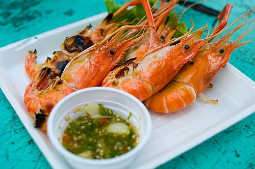 Grilled prawns and seafood dipping sauce, Bang Saen