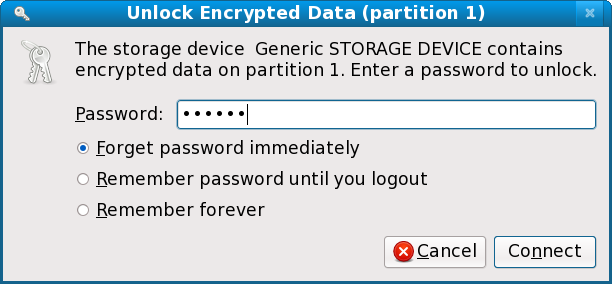 Fig 11. Unlocking an encrypted USB stick