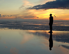 Me and my shadow (Mr Grimesdale) Tags: sunset sea beach statue liverpool european mr capital steve culture wallace 2008 gormley crosby antonygormley merseyside anotherplace rivermersey gapc mrgrimsdale olympuse510 pfogold grimesdale