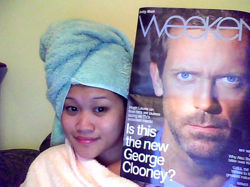 Chilling out with Hugh Laurie.