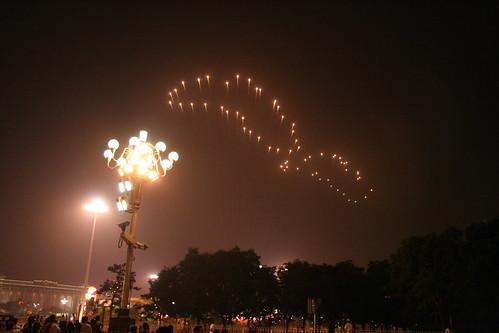 fuegos artificiales huellas de pie en Beijing