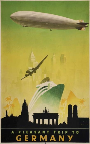 Germany (1935) Vintage Travel Poster with zeppelin