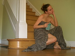 Day 075: This is what I look like in the morning: Naked. Wrapped in a blanket. Slouched over. Drinking coffee.