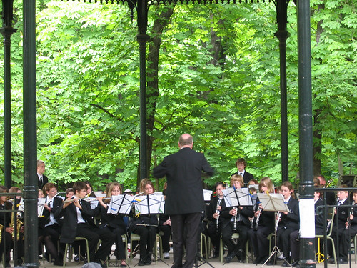 High school band at the Jardin du Luxembourg gazebo