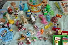 Yard sale cuties (raining rita) Tags: toys tin miniature dolls drum clown disney littlepeople fisherprice chein fairlyoddparents buildabetterburger1985 mcdonalds101dalmations