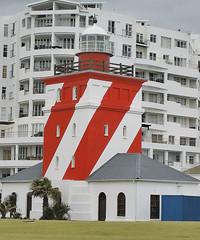 Mouille Point Lighthouse (mallix) Tags: ocean africa new old light red sea lighthouse storm color colour building tower heritage rain weather architecture contrast vintage southafrica ship stripes ships stripe windy capetown retro shipwreck 1800 worldcup seafront striped façade tablebay redandwhite 2010 atlanticseaboard mouillepoint soccerworldcup worldcup2010 mouillepointlighthouse fifa2010