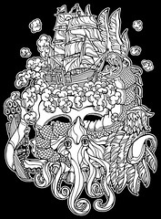 Seafarer (sammo371) Tags: art strange tattoo illustration skull wings ship feathers odd squid scales pirate seamonster bizarre lineart tentacles pirateship sharpiemarker brainmatter line