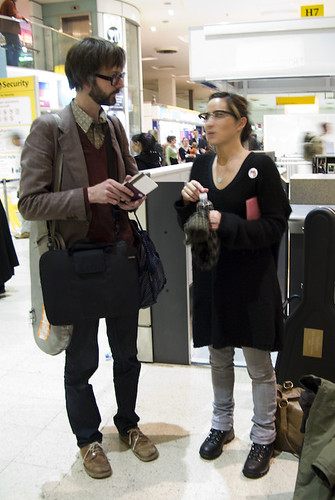 Jarvis Cocker and KT Tunstall checking in at Heathrow