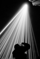 (Hughes Lglise-Bataille) Tags: light blackandwhite bw paris france tower topf25 silhouette topf50 photographer tour projector lumire picture nb column spectra taking blanche 2008 montparnasse topf100 nuit ikeda photographe projecteur ryoji topv1000