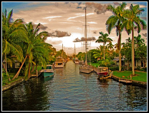 Boats Along a Canal in Fort Lauderdale
