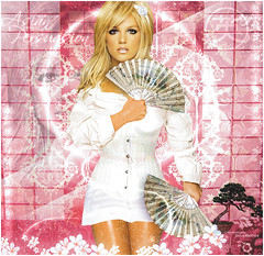 Britney Spears [Asian Persuasion] ( Omar Rodriguez V.) Tags: flowers white art japan stone asian lights spears circus magic makeup pop queen popart fantasy single bonsai kimono blackout britney rolling persuasion artwor womanizer japanesse rinces slave4britney