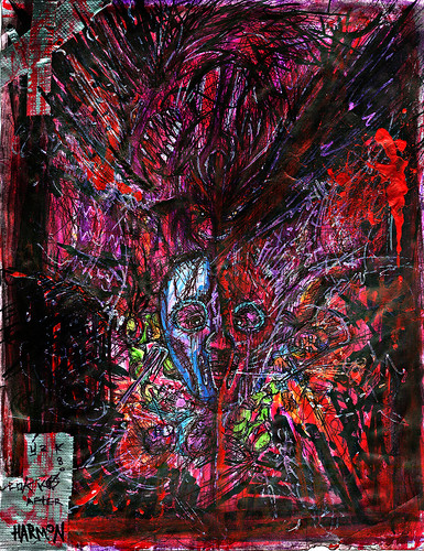 t2z - the tOkKA bootlegz :: RUN from HUN - Violet Violence n' RED  ..// { Ink &  Paint by tOkKa over copy of Harmon's Pencils }