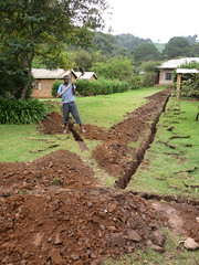 Digging trenches for telephones