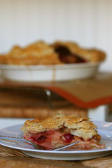 Apple-Cranberry Pie slice with whole
