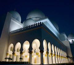 Peaceful evening (momentaryawe.com) Tags: lights evening muslim islam arches mosque abudhabi domes islamic sheikhzayedmosque