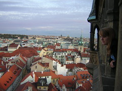 Jasmine Brubaker looks out of the Astronomical Clock Tower over the city of Prague.