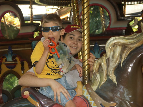 Josh loves the carosel at the zoo!!