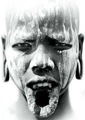 Mursi tribe woman lip Ethiopia (Eric Lafforgue) Tags: africa portrait woman girl eyes dam african femme shaved bodylanguage ears tribal lips yeux explore tribes blackpeople afrika lip bodypainting ethiopia tribe ethnic fille levistrauss barrage bold tribo indigenous labret regard africain afrique levres ethnology indigenouspeople tribu omo thiopien chauve etiopia oreilles rase ethiopie etiopa claudelevistrauss etnia ethnologie ethnique 3793 tribalgirl levre lafforgue  ethnie  ericlafforgue lipplate etipia  southethiopia lipplates ericlafforguecom  tribalgirls  abissnia   salinicostruttori plateaulabial gibeiiidam gibe3dam bienvenuedansmatribu