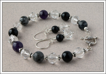 Gemstone & silver bracelet and earrings
