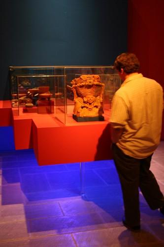 Jesse examining exhibits